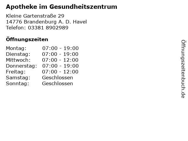 Apotheke im Gesundheitszentrum in Brandenburg A. D. Havel: Adresse und Öffnungszeiten