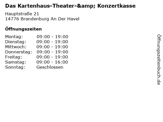 Das Kartenhaus-Theater-& Konzertkasse in Brandenburg An Der Havel: Adresse und Öffnungszeiten
