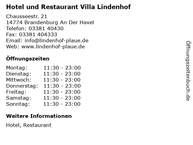 Hotel und Restaurant Villa Lindenhof in Brandenburg An Der Havel: Adresse und Öffnungszeiten