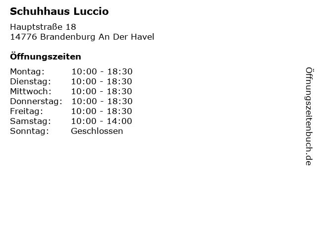 Schuhhaus Luccio in Brandenburg An Der Havel: Adresse und Öffnungszeiten