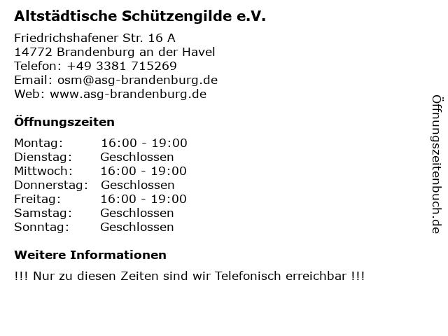 Altstädtische Schützengilde e.V. in Brandenburg an der Havel: Adresse und Öffnungszeiten