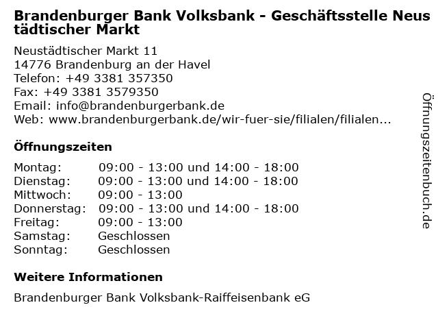 Brandenburger Bank Volksbank - Geschäftsstelle Neustädtischer Markt in Brandenburg an der Havel: Adresse und Öffnungszeiten