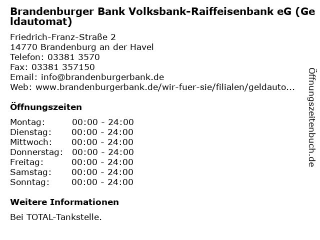 Brandenburger Bank Volksbank-Raiffeisenbank eG (Geldautomat) in Brandenburg an der Havel: Adresse und Öffnungszeiten