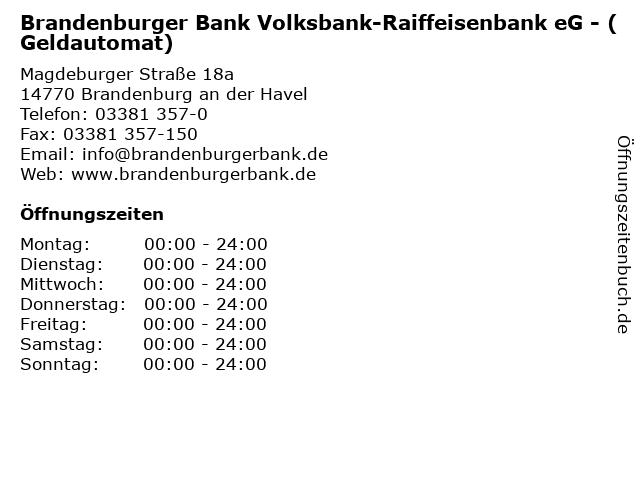 Brandenburger Bank Volksbank-Raiffeisenbank eG - (Geldautomat) in Brandenburg an der Havel: Adresse und Öffnungszeiten