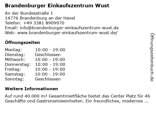 Mittelbrandenburgische Sparkasse in Potsdam - (Geldautomat EKZ-Wust) in Brandenburg: Adresse und Öffnungszeiten