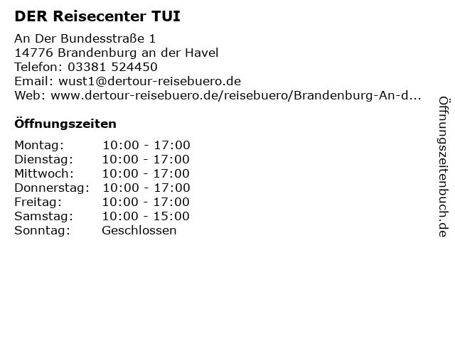DER Reisecenter TUI in Brandenburg: Adresse und Öffnungszeiten