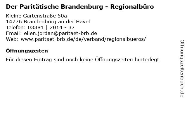 Der Paritätische Brandenburg - Regionalbüro in Brandenburg an der Havel: Adresse und Öffnungszeiten
