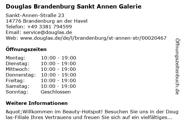 Parfümerie Douglas Brandenburg in Brandenburg: Adresse und Öffnungszeiten