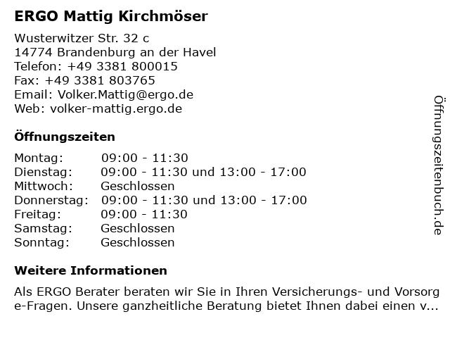 ERGO Versicherung Volker Mattig in Brandenburg an der Havel: Adresse und Öffnungszeiten