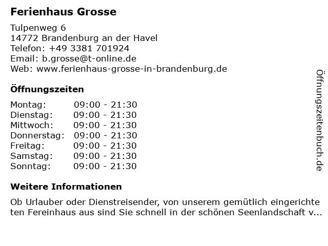 Ferienhaus Grosse in Brandenburg an der Havel: Adresse und Öffnungszeiten