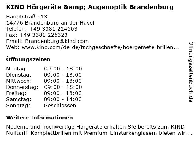 KIND Hörgeräte & Augenoptik Brandenburg in Brandenburg an der Havel: Adresse und Öffnungszeiten