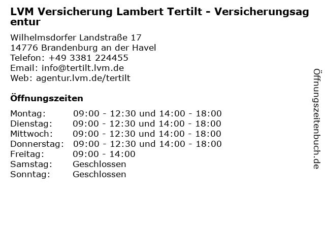 LVM Versicherung Lambert Tertilt - Versicherungsagentur in Brandenburg an der Havel: Adresse und Öffnungszeiten
