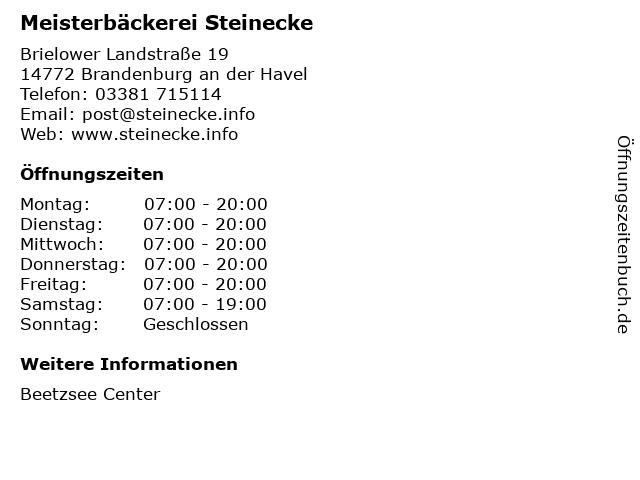 Meisterbäckerei Steinecke in Brandenburg an der Havel: Adresse und Öffnungszeiten