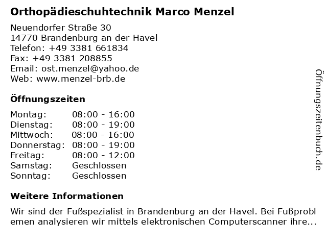 Orthopädieschuhtechnik Marco Menzel in Brandenburg an der Havel: Adresse und Öffnungszeiten