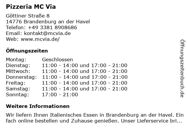 Pizzeria MC Via in Brandenburg an der Havel: Adresse und Öffnungszeiten