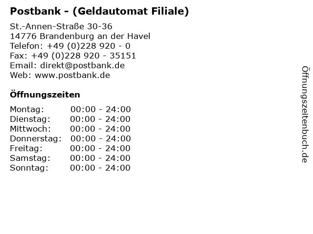 Postbank - (Geldautomat Filiale) in Brandenburg an der Havel: Adresse und Öffnungszeiten