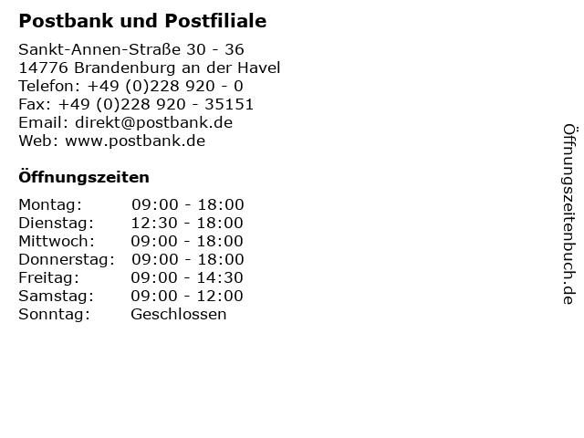 Postbank und Postfiliale in Brandenburg an der Havel: Adresse und Öffnungszeiten