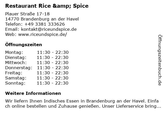 Rice & Spice in Brandenburg an der Havel: Adresse und Öffnungszeiten