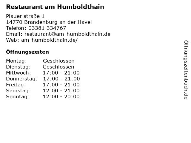 Restaurant am Humboldthain in Brandenburg an der Havel: Adresse und Öffnungszeiten