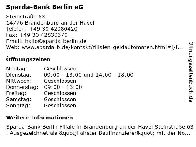 Sparda-Bank Berlin eG in Brandenburg an der Havel: Adresse und Öffnungszeiten