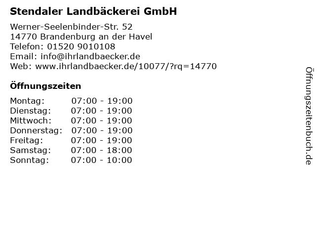Stendaler Landbäckerei GmbH in Brandenburg an der Havel: Adresse und Öffnungszeiten