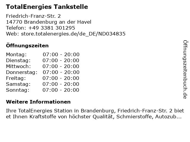 TotalEnergies Tankstelle in Brandenburg an der Havel: Adresse und Öffnungszeiten