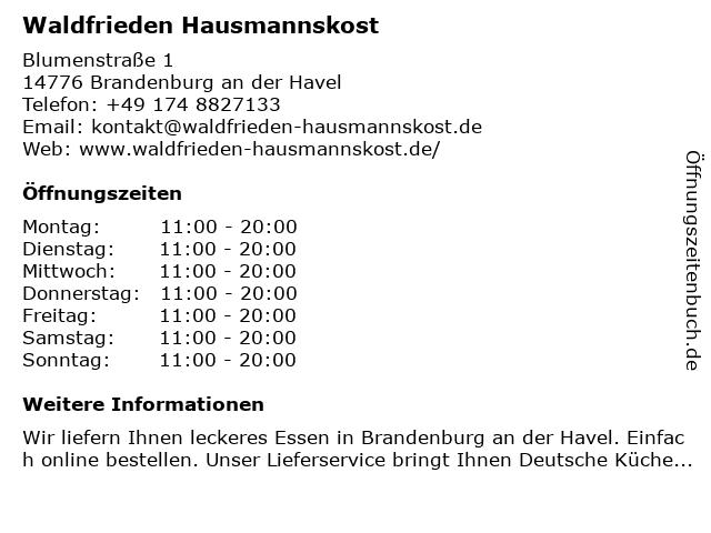 Waldfrieden Hausmannskost in Brandenburg an der Havel: Adresse und Öffnungszeiten
