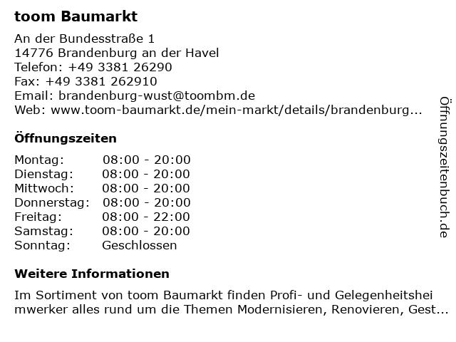 toom Baumarkt Brandenburg an der Havel in Brandenburg an der Havel: Adresse und Öffnungszeiten