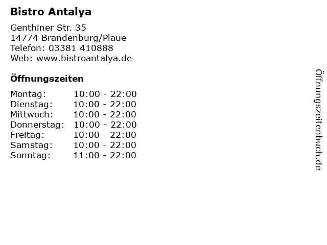 Bistro Antalya in Brandenburg/Plaue: Adresse und Öffnungszeiten