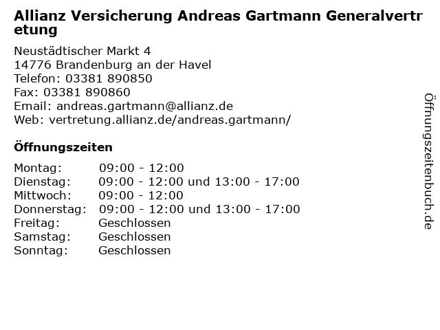 Allianz Vertretung Andreas Gartmann in Brandenburg: Adresse und Öffnungszeiten