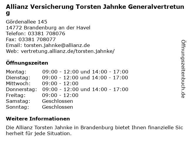 Allianz Vertretung Torsten Jahnke in Brandenburg: Adresse und Öffnungszeiten