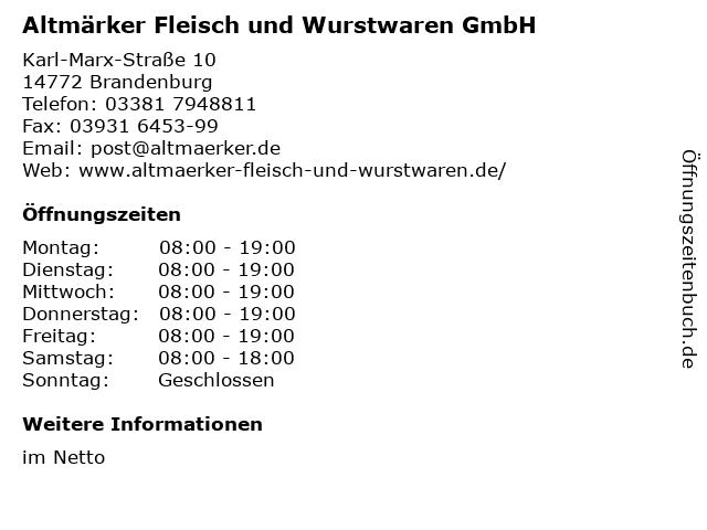 Altmärker Fleisch und Wurstwaren GmbH in Brandenburg: Adresse und Öffnungszeiten