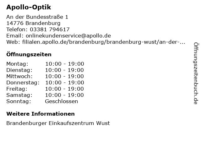 Apollo-Optik Holding GmbH & Co. KG in Brandenburg: Adresse und Öffnungszeiten
