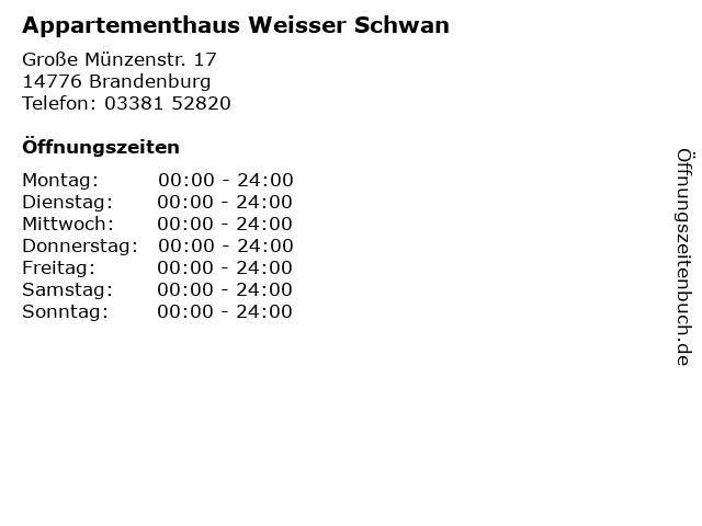 Appartementhaus Weisser Schwan in Brandenburg: Adresse und Öffnungszeiten