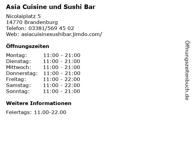 Asia Cuisine und Sushi Bar in Brandenburg: Adresse und Öffnungszeiten