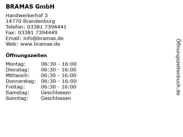 BRAMAS GmbH in Brandenburg: Adresse und Öffnungszeiten