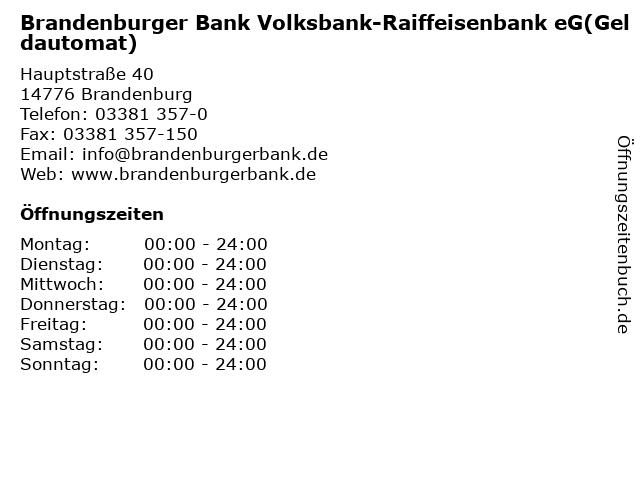 Brandenburger Bank Volksbank-Raiffeisenbank eG(Geldautomat) in Brandenburg: Adresse und Öffnungszeiten