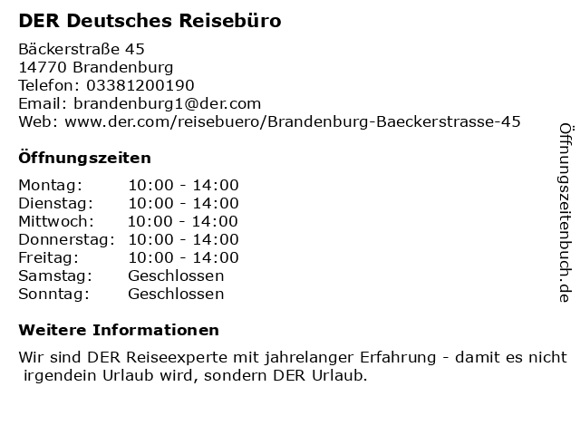 DER Deutsches Reisebüro in Brandenburg: Adresse und Öffnungszeiten