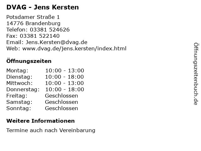 DVAG - Jens Kersten in Brandenburg: Adresse und Öffnungszeiten