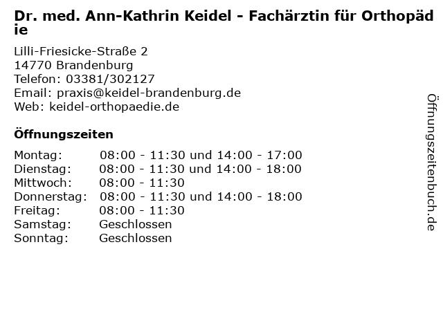 Dr. med. Ann-Kathrin Keidel in Brandenburg: Adresse und Öffnungszeiten