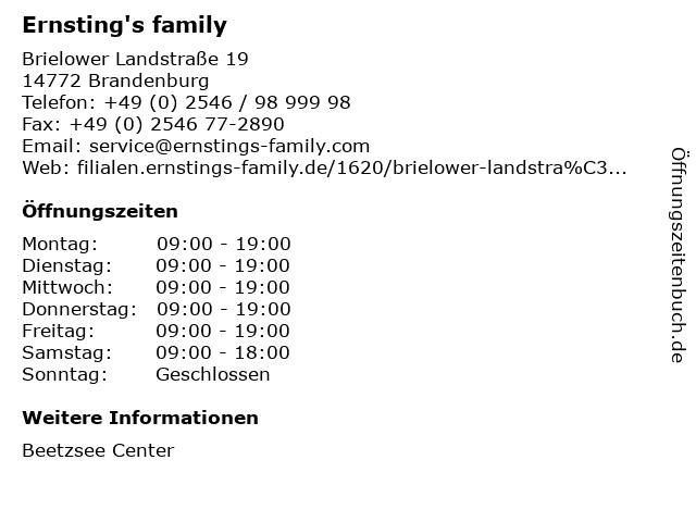 Ernsting's family in Brandenburg: Adresse und Öffnungszeiten