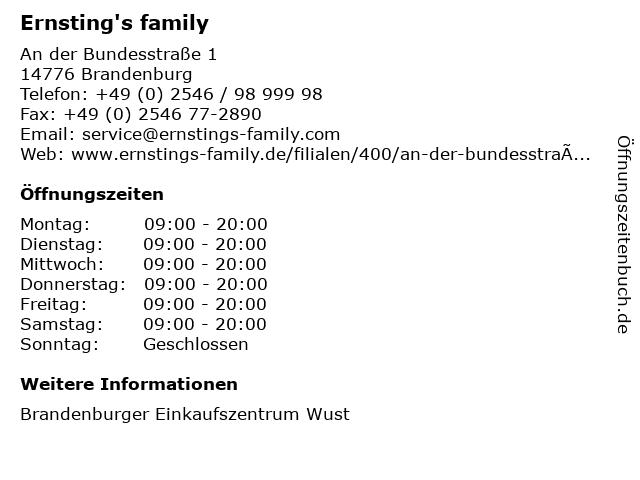 Ernsting's family GmbH & Co. KG in Brandenburg: Adresse und Öffnungszeiten