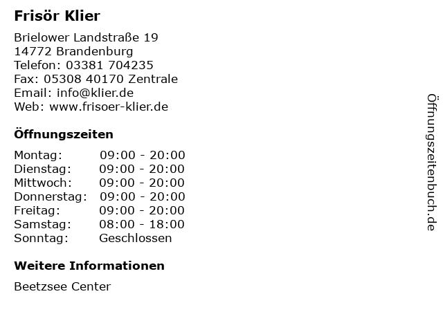 Frisör Klier in Brandenburg: Adresse und Öffnungszeiten