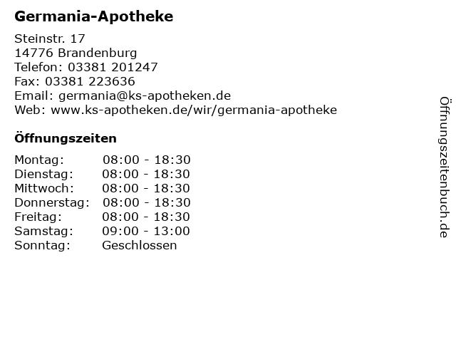 Germania-Apotheke in Brandenburg: Adresse und Öffnungszeiten