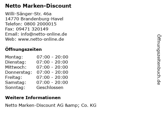 Netto Marken-Discount in Brandenburg-Havel: Adresse und Öffnungszeiten