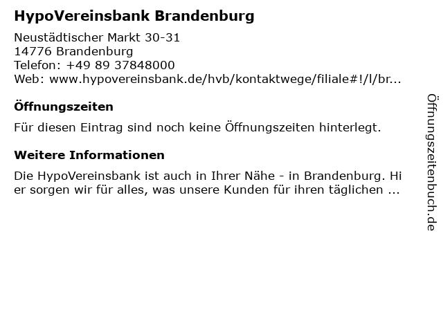 HypoVereinsbank Brandenburg in Brandenburg: Adresse und Öffnungszeiten