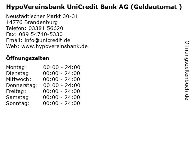 HypoVereinsbank UniCredit Bank AG (Geldautomat ) in Brandenburg: Adresse und Öffnungszeiten