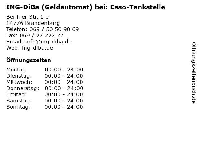 ING-DiBa (Geldautomat) bei: Esso-Tankstelle in Brandenburg: Adresse und Öffnungszeiten