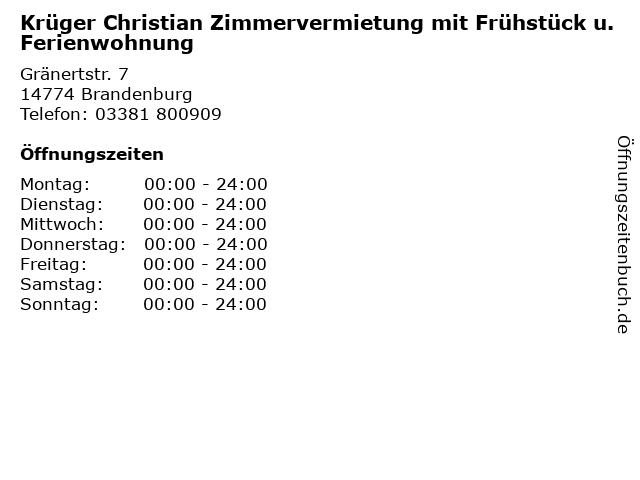Krüger Christian Zimmervermietung mit Frühstück u. Ferienwohnung in Brandenburg: Adresse und Öffnungszeiten