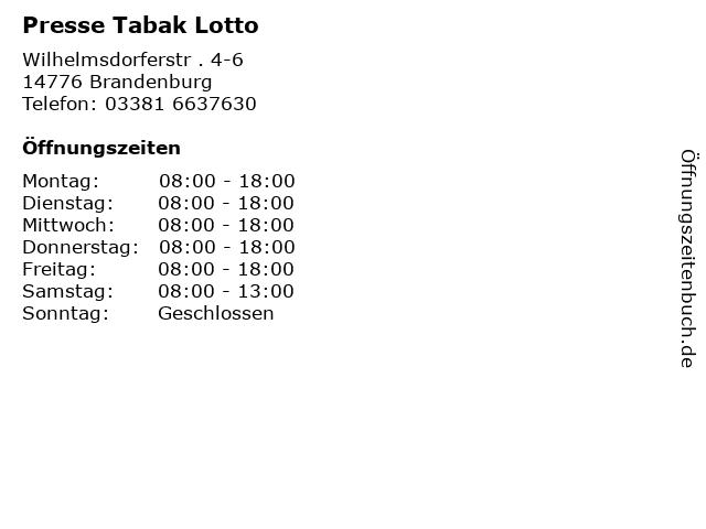Presse Tabak Lotto in Brandenburg: Adresse und Öffnungszeiten